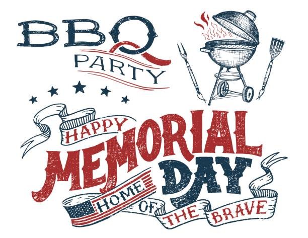 memorial day greeting card barbecue invitation - memorial day weekend stock illustrations