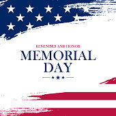 USA Memorial Day greeting card with brush stroke background in United States national flag colors.