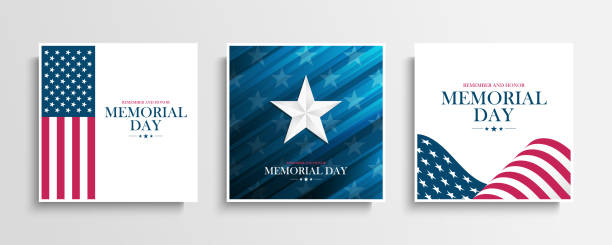 USA Memorial Day greeting cards collection with Silver Star and United States national flag. Remember and honor. United States national holiday. vector art illustration