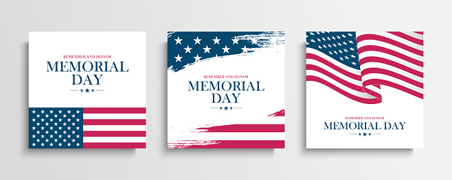 USA Memorial Day greeting cards set with United States national flag. Remember and honor. United States national holiday.