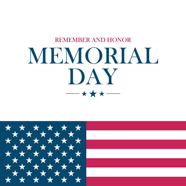 Memorial Day holiday card with United States national flag. vector art illustration