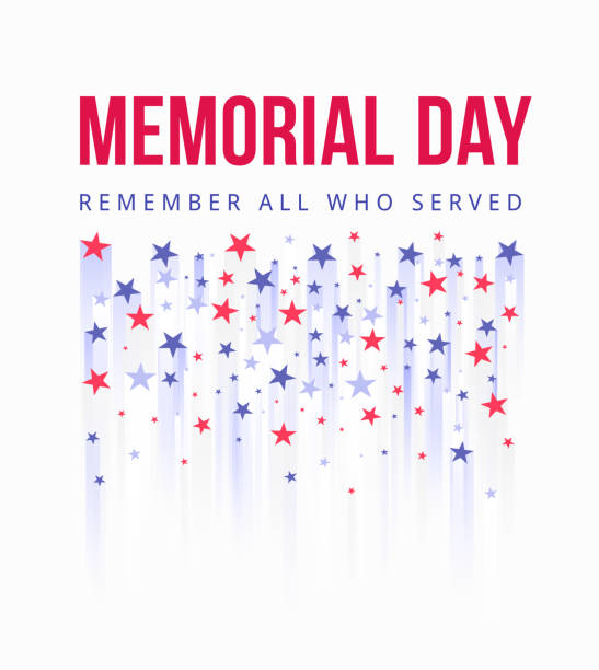 Memorial Day - Honoring All Who Served Poster. American national holiday. Stylistic fireworks from American stars symbols fly up vector art illustration