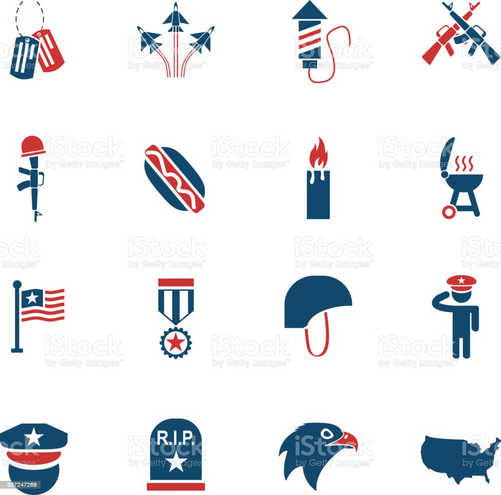 memorial day icon set vector art illustration