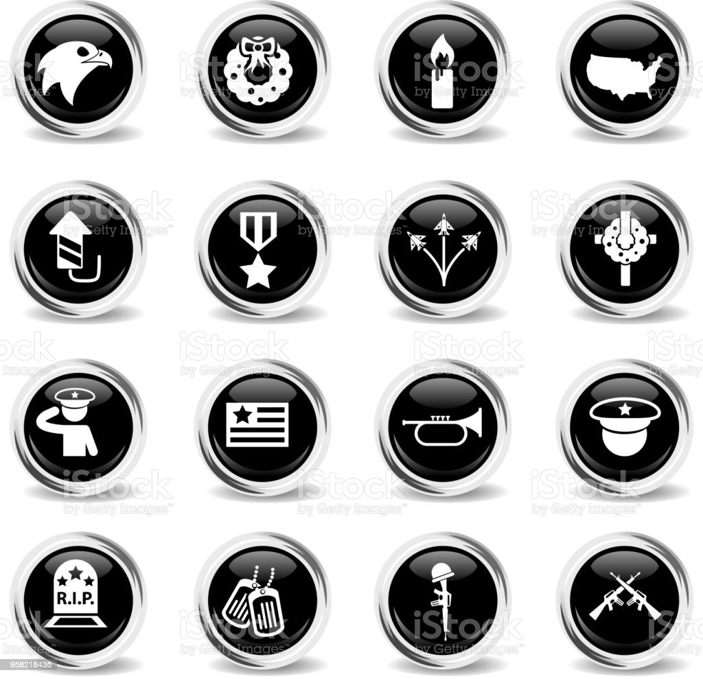 memorial day vector icons - black round chrome buttons