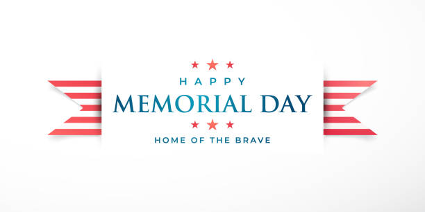 memorial day in united states. home of the brave. horizontal banner with striped ribbon and greeting text. vector illustration. - memorial day stock illustrations