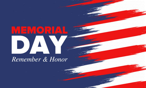 memorial day in united states. remember and honor. federal holiday for remember and honor persons who have died while serving in the united states armed forces. celebrated in may. vector poster - memorial day stock illustrations