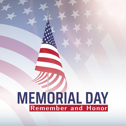 Memorial Day in United States with lettering remember and honor. Holiday of memory and honor of soldiers, military personnel who died while serving in the US Armed forces. Vector banner