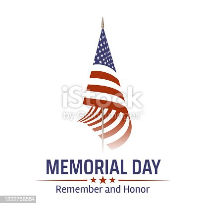 istock Memorial Day in USA with lettering remember and honor. Holiday of memory and honor of soldiers, military personnel who died while serving in the United States Armed forces. Vector banner 1222756554