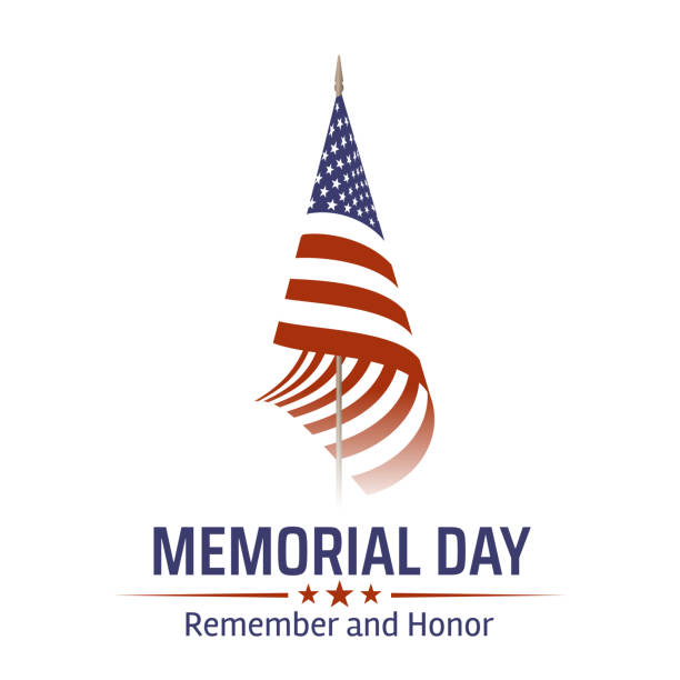 memorial day in usa with lettering remember and honor. holiday of memory and honor of soldiers, military personnel who died while serving in the united states armed forces. vector banner - memorial day stock illustrations