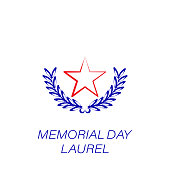 memorial day laurel colored icon. Element of memorial day illustration icon. Signs and symbols can be used for web, logo, mobile app, UI, UX