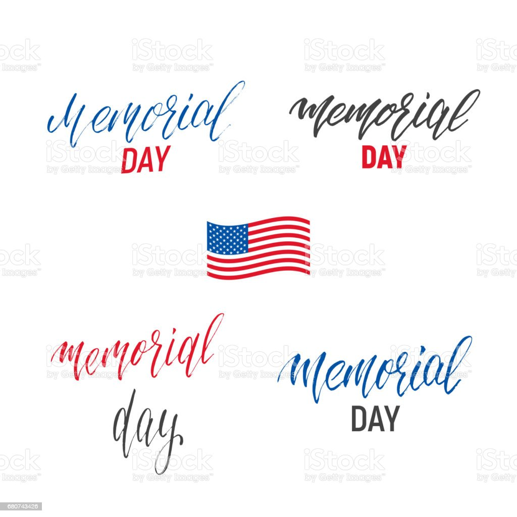 Memorial Day Lettering Set Calligraphy Symbol For Usa Memorial Day