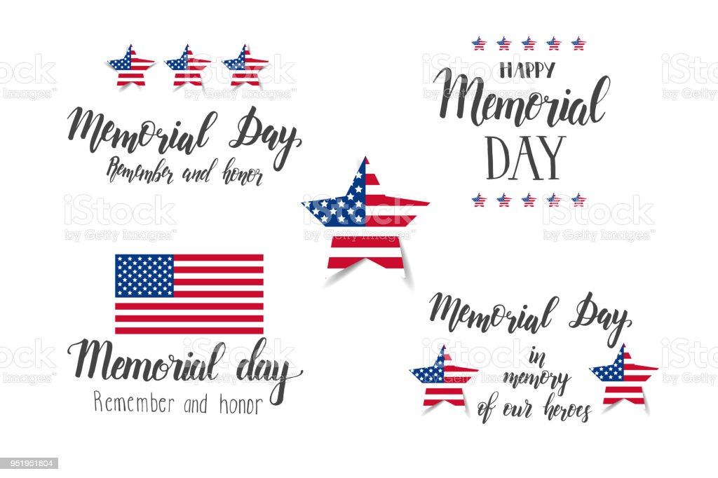 Memorial Day Schriftzug Set Amerikanischen Nationalfeiertag