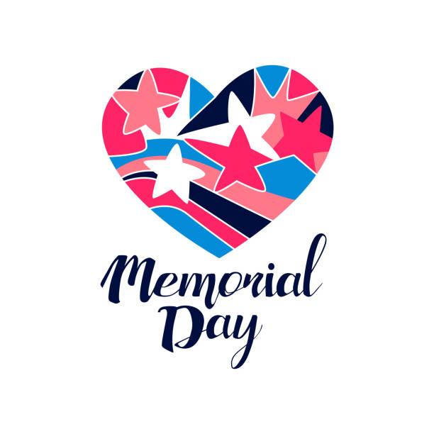 logo dnia pamięci, kreatywny szablon do kartki z życzeniami, zaproszenie, plakat, baner, wektor projektu koszulki ilustracja na białym tle - memorial day stock illustrations