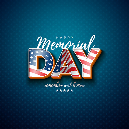 Memorial Day of the USA Vector Design Template with American Flag in 3d Letter on Light Star Pattern Background. National Patriotic Celebration Illustration for Banner, Greeting Card or Holiday Poster.