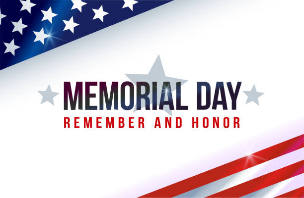 memorial day on american flag - american flag stock illustrations