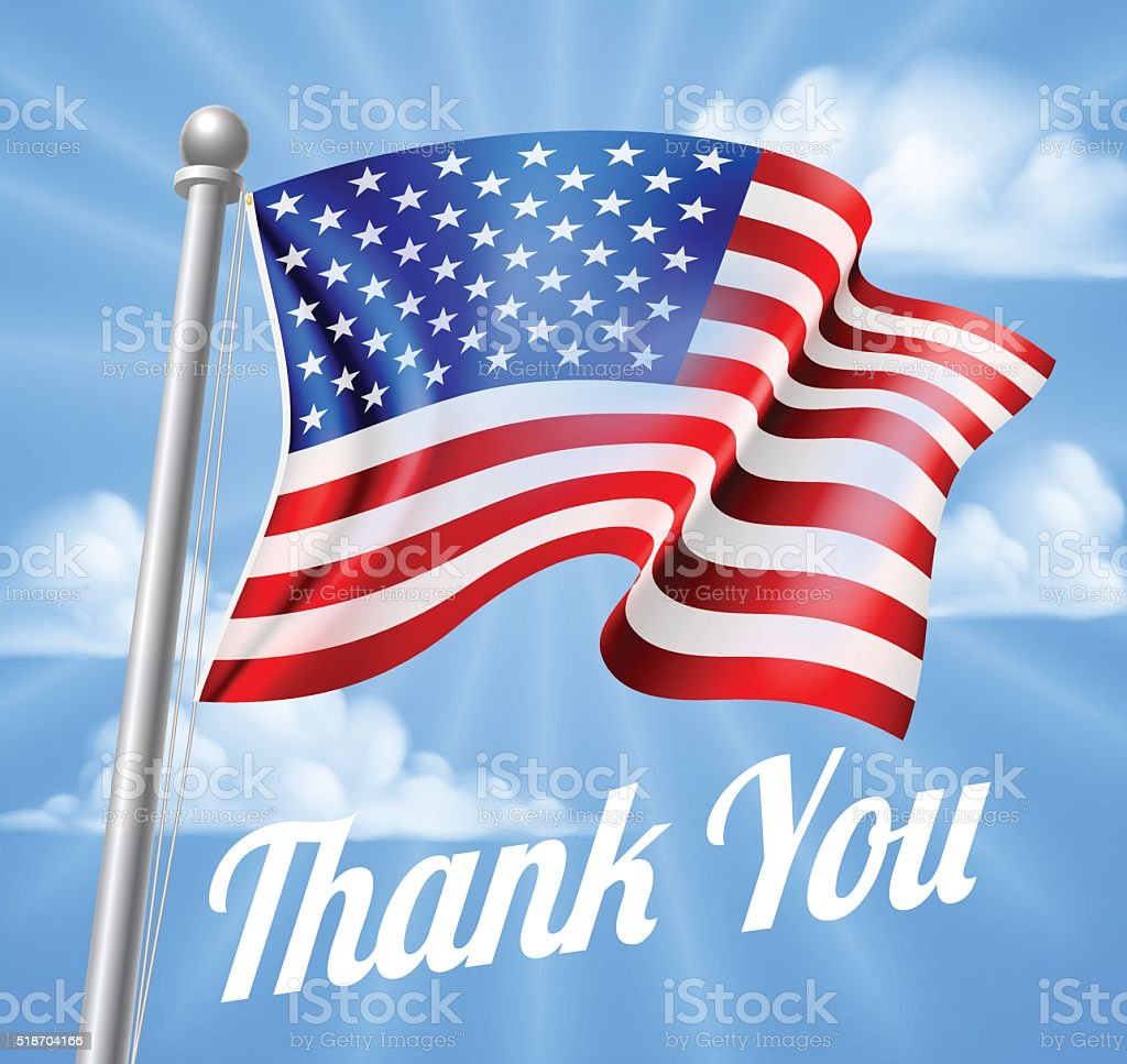 Memorial Day or Veterans Day Thank You American Flag vector art illustration
