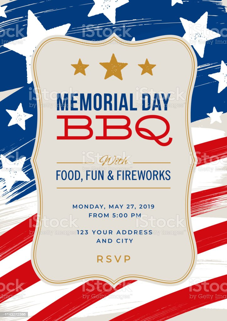 Memorial Day Party Invitation Template Stock Illustration ...