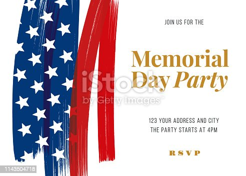 Memorial Day Party Invitation Template - Illustration