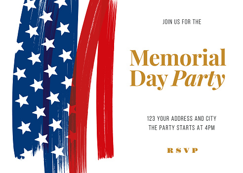 Memorial Day Party Invitation Template.