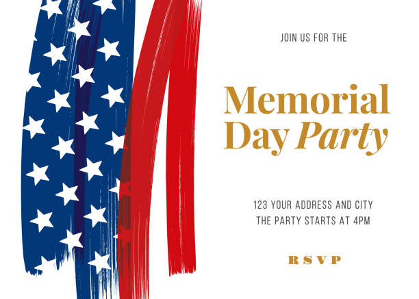 memorial day party invitation template. - memorial day stock illustrations
