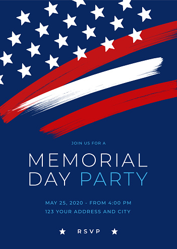 Memorial Day Party Invitation Template with brush.