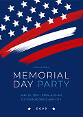 Memorial Day Party Invitation Template with brush. stock illustration