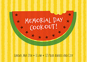 Memorial Day Party Invitation with watermelon - Illustration. Stock illustration