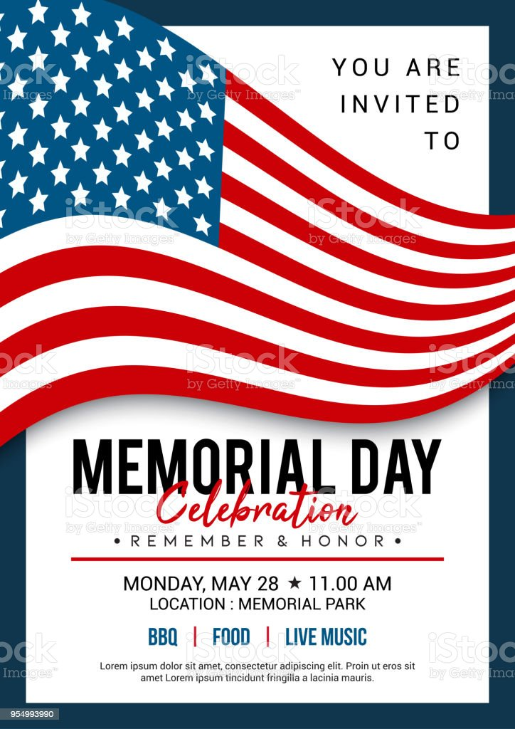 memorial day poster templates vector illustration usa flag waving with text flyer design royalty