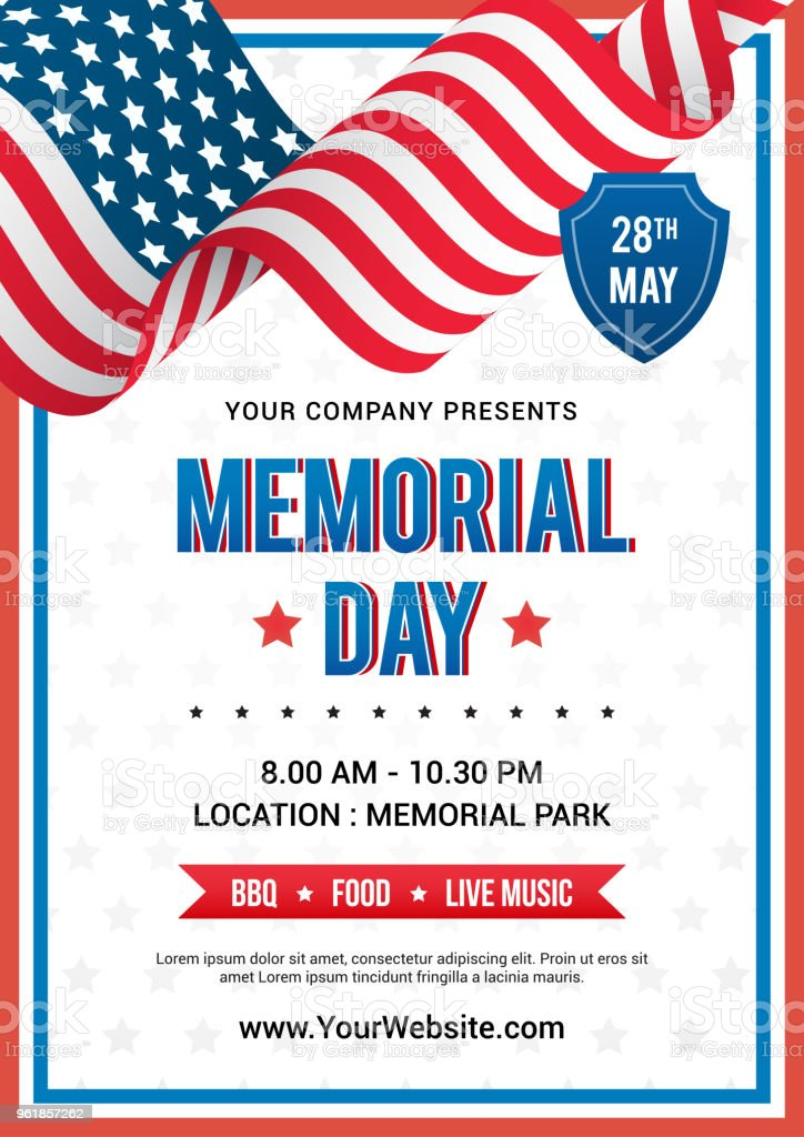 memorial day poster templates vector illustration usa flag waving