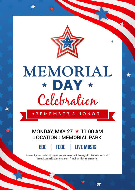 memorial day poster templates vector illustration, usa flag with blue star frame. flyer design - memorial day stock illustrations