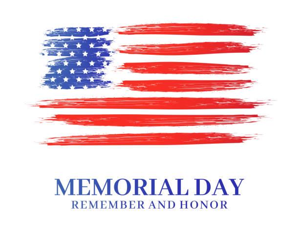 ilustraciones, imágenes clip art, dibujos animados e iconos de stock de cartel del día de conmemoración. acuarela arte pincel usa bandera americana. recuerda y honra. ilustración vectorial. - memorial day