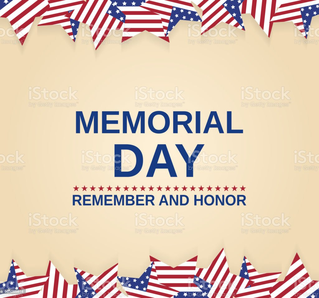 Memorial Day Poster With Striped Stars Remember And Honor Vector Illustration Stock Illustration Download Image Now Istock