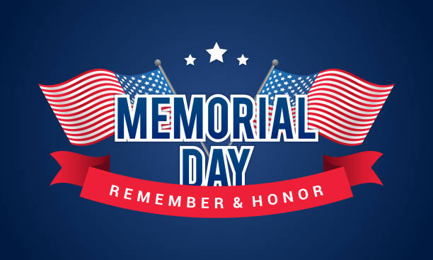 memorial day - remember and honor banner vector illustration. typography with usa crossing flags on blue background. - memorial day stock illustrations