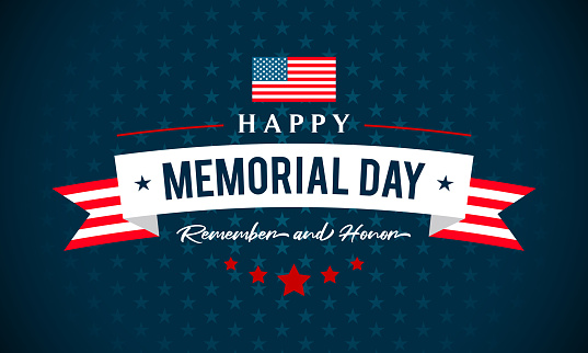 USA Memorial Day - Remember and honor greeting card vector illustration. Text on blue star pattern background