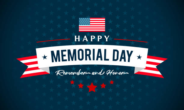 usa memorial day - remember and honor greeting card vector illustration. text on blue star pattern background - memorial day stock illustrations