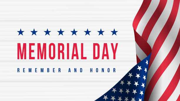 Memorial Day - Remember and Honor Poster. Usa memorial day celebration. American national holiday vector art illustration
