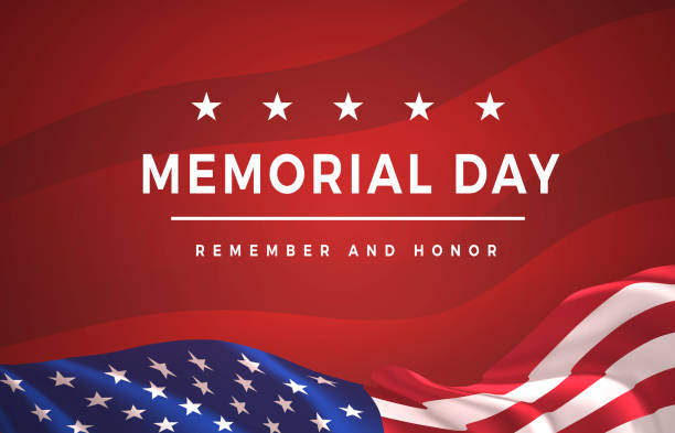ilustraciones, imágenes clip art, dibujos animados e iconos de stock de memorial day - cartel de recordar y honrar. celebración del día de los caídos en estados unidos. fiesta nacional americana - memorial day