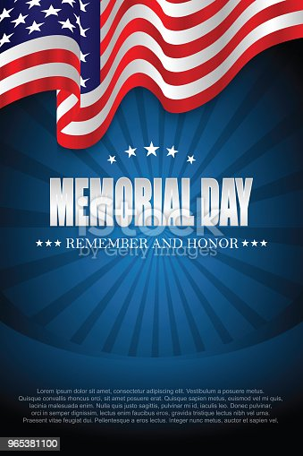 Memorial Day Remember And Honor Stock Vector Art & More Images of Backgrounds 965381100