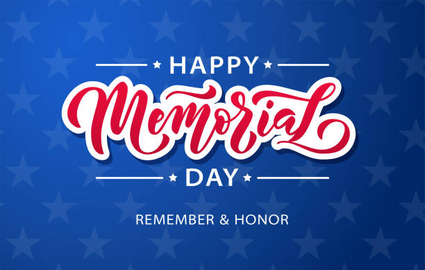 memorial day. remember and honor. vector illustration hand drawn text lettering with stars for memorial day in usa. - memorial day weekend stock illustrations