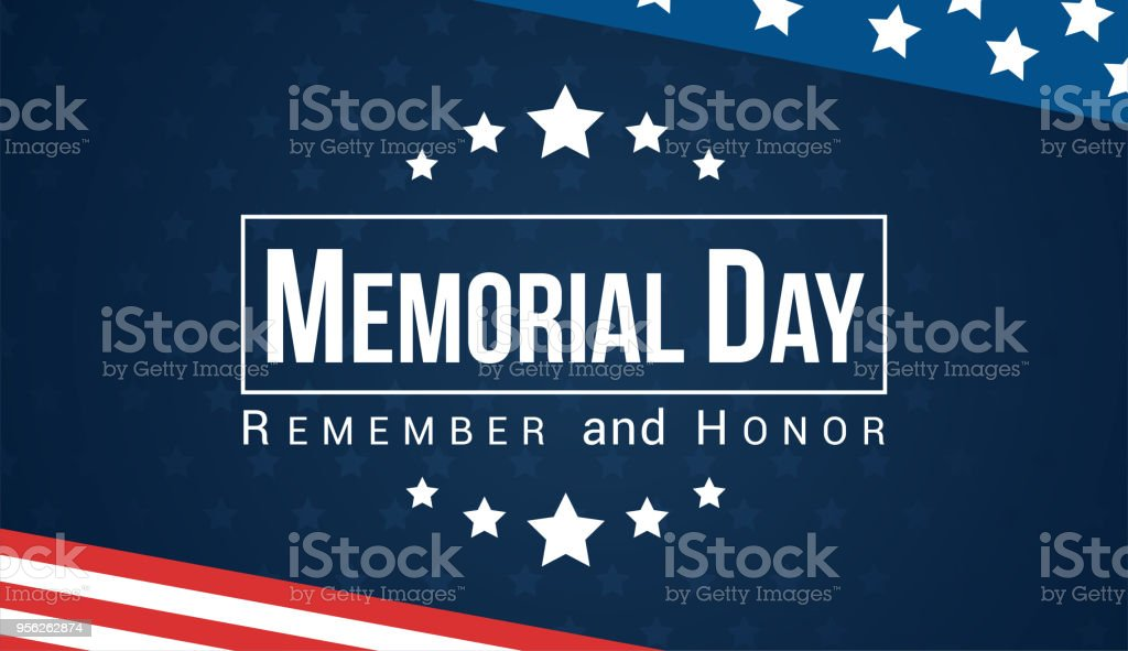 Memorial Day - Remember and honor with USA flag, Vector illustration. vector art illustration