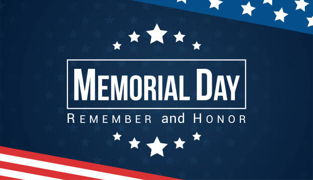 memorial day - remember and honor with usa flag, vector illustration. - american flag stock illustrations