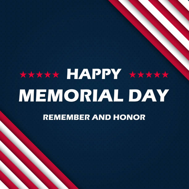 memorial day - remember and honor. with usa flag. vector illustration eps10 - memorial day weekend stock illustrations