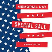 Memorial Day sale banner. stock illustration
