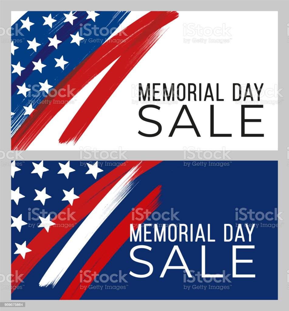 Memorial Day sale banner vector art illustration