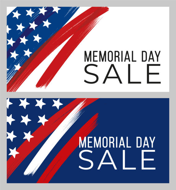 memorial day sale banner - memorial day stock illustrations
