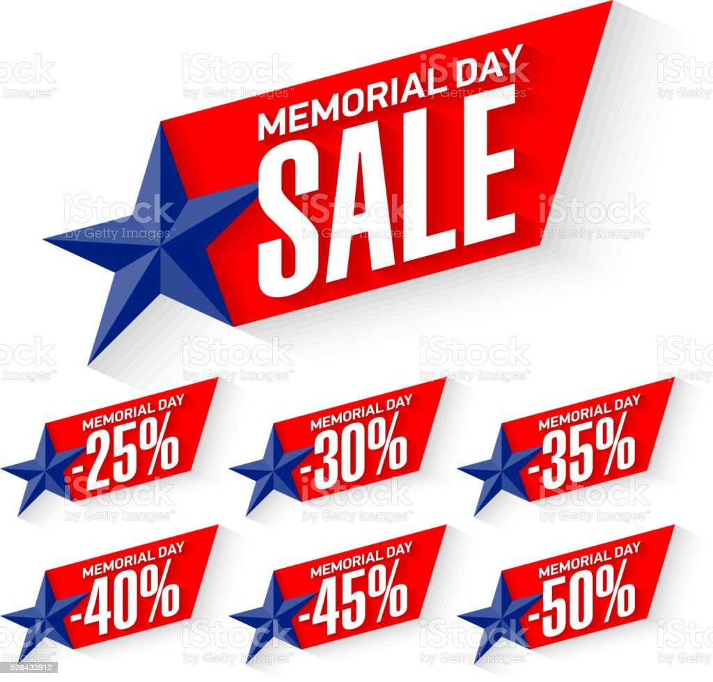 Memorial Day Sale discount labels vector art illustration