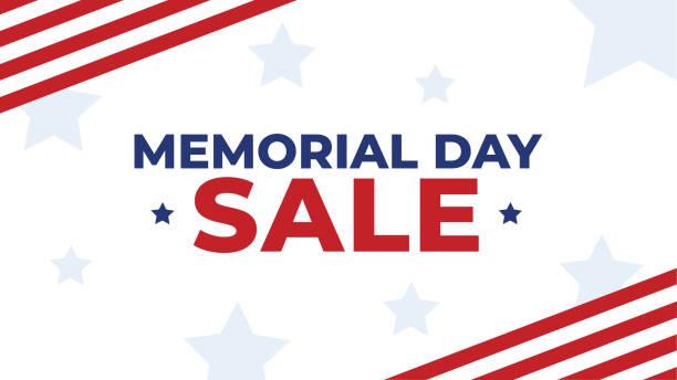 memorial day sale patriotic vector illustration - memorial day weekend stock illustrations
