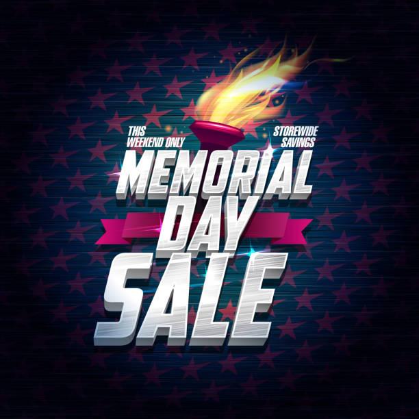 memorial day sale poster design - memorial day weekend stock illustrations