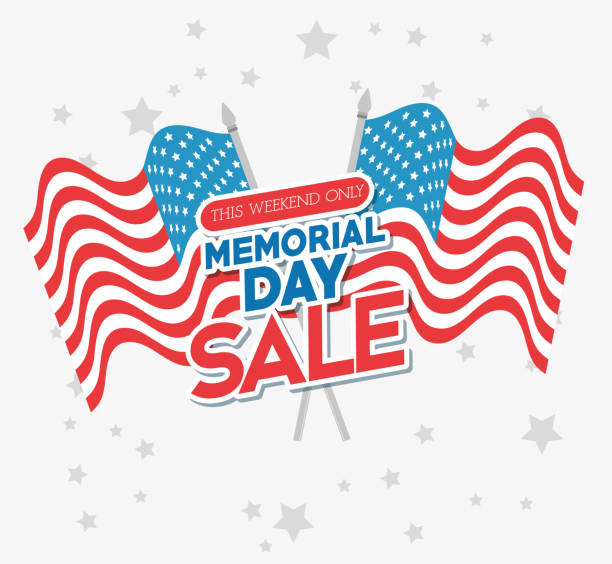 memorial day sale poster - memorial day weekend stock illustrations