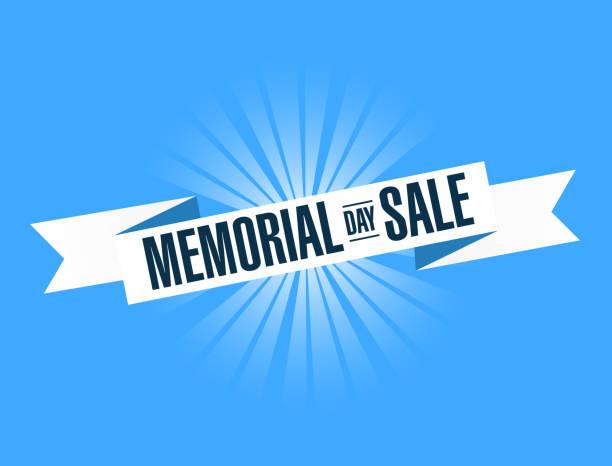 memorial day sale ribbon sign illustration design graphic - memorial day weekend stock illustrations